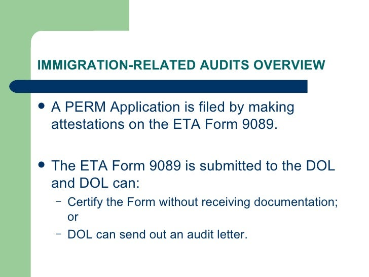 Immigration related audits (revised)