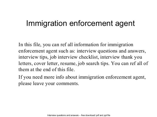 Interview Questions And Answers U2013 Free Download/ Pdf And Ppt File Immigration  Enforcement Agent In ...