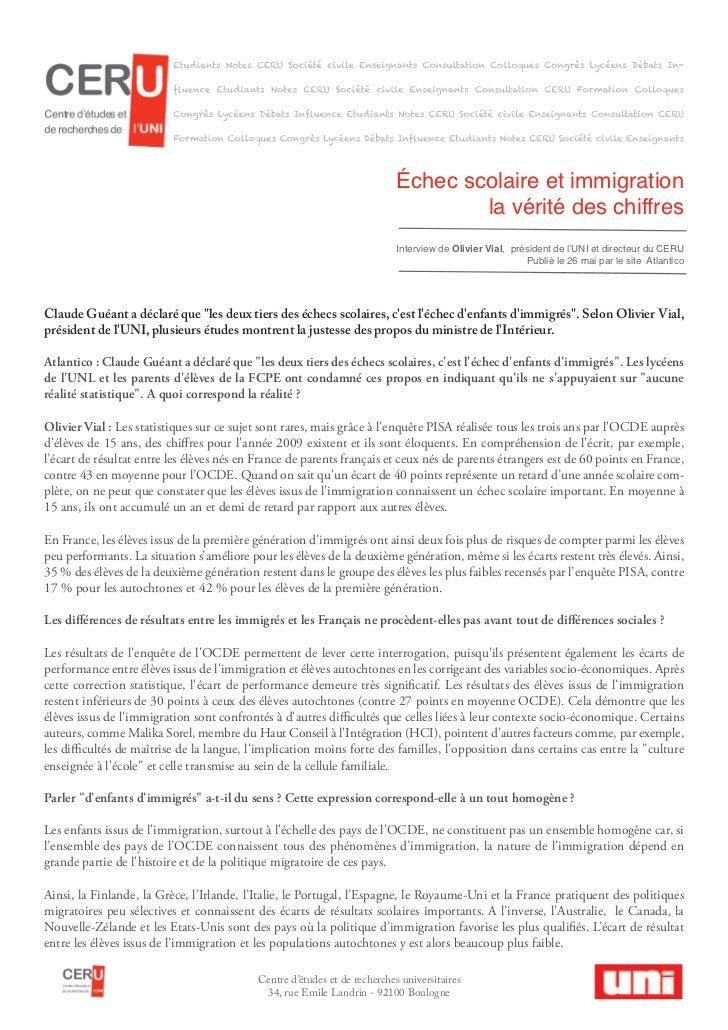 Échec scolaire et immigration                                                                                   la vérité ...