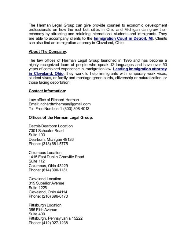 Immigration Lawyers Representing Clients In Cleveland Ohio And Detro