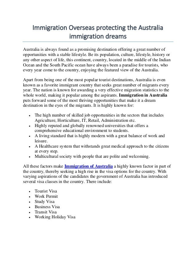 Immigration Overseas protecting the Australia immigration dreams Australia is always found as a promising destination offe...
