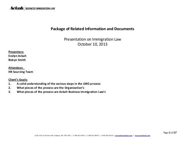 package of related information and documents presentation on immigration law october 10 2013 presenters