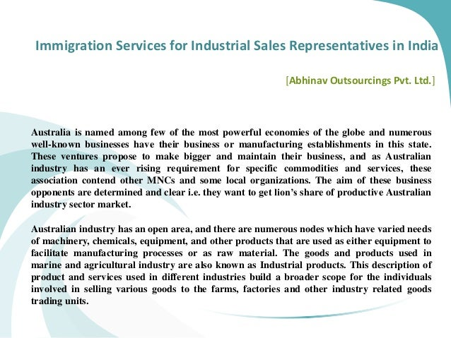 Immigration Services for Industrial Sales Representatives in India [Abhinav Outsourcings Pvt. Ltd.] Australia is named amo...
