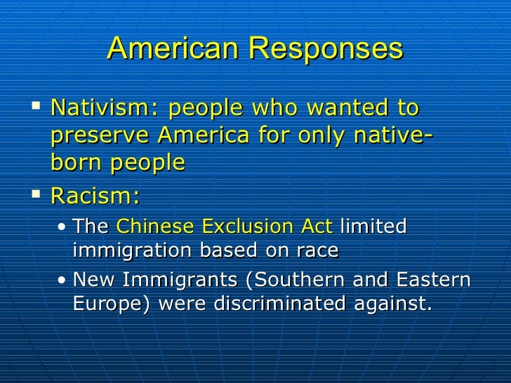 Racism, Nativism, and Immigration Policy