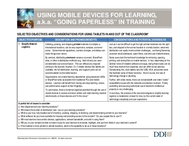 "USING MOBILE DEVICES FOR LEARNING, a.k.a. ""GOING PAPERLESS"" IN TRAINING  –  SELECTED OBJECTIVES AND CONSIDERATIONS FOR USI..."