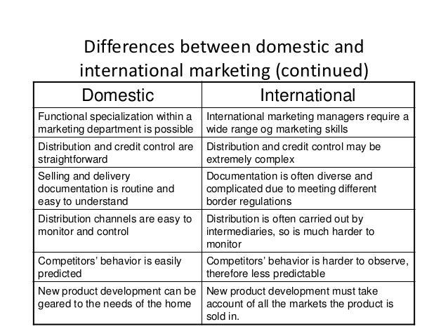 international and domestic marketing comparison paper essay College essay writing service 1 compare the approaches to strategizing and entering a new domestic market and a new international market2 analyze the differences between an international and a multi-local approach to market entry.