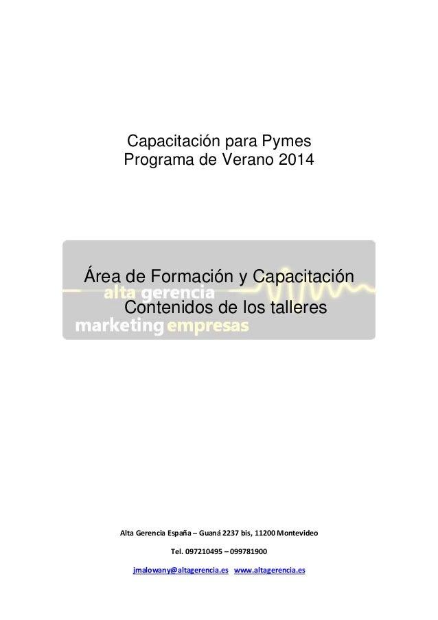 Capacitación para Pymes Programa de Verano 2014  Área de Formación y Capacitación Contenidos de los talleres  Alta Gerenci...