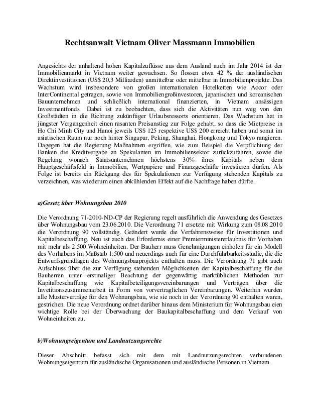 Rechtsanwalt Vietnam Oliver Massmann Immobilien Angesichts der anhaltend hohen Kapitalzuflüsse aus dem Ausland auch im Jah...