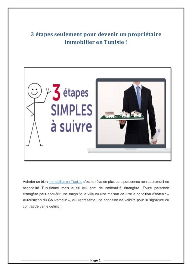 3 étapes seulement pour devenir un propriétaire immobilier en Tunisie ! Acheter un bien immobilier en Tunisie c'est le rêv...