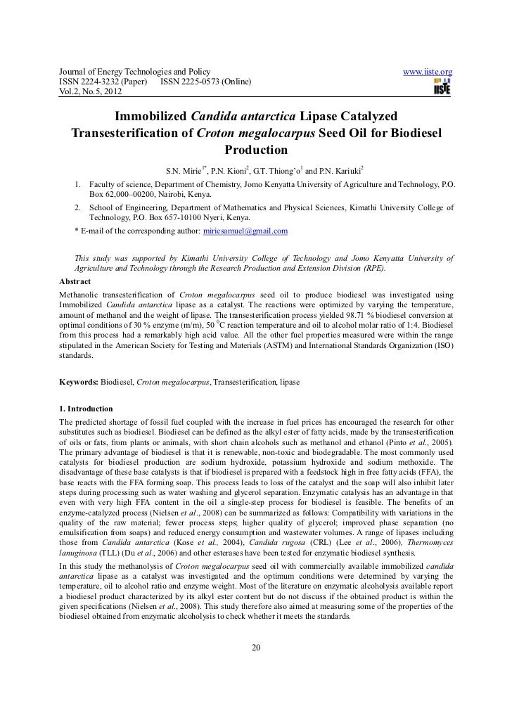 Journal of Energy Technologies and Policy                                                                 www.iiste.orgISS...