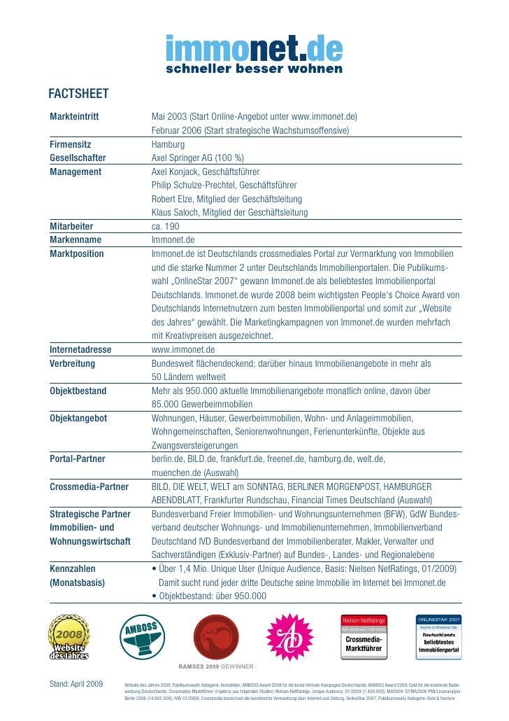 Immonet.De Factsheet April 2009  Immonet.De Fact...