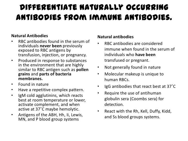 Immune Antibodies Vs Naturally Occuring Antibodies