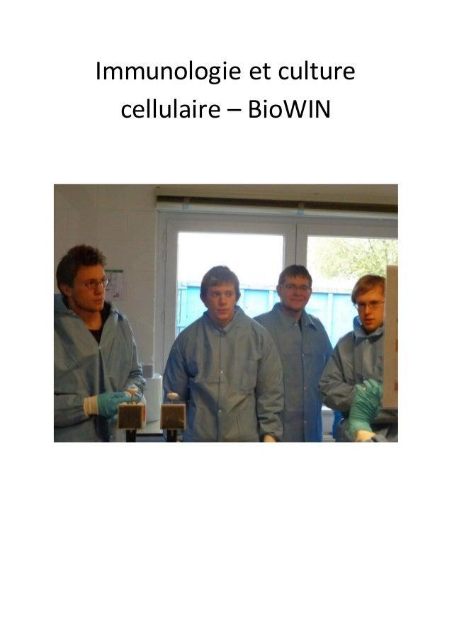 Immunologie et culturecellulaire – BioWIN