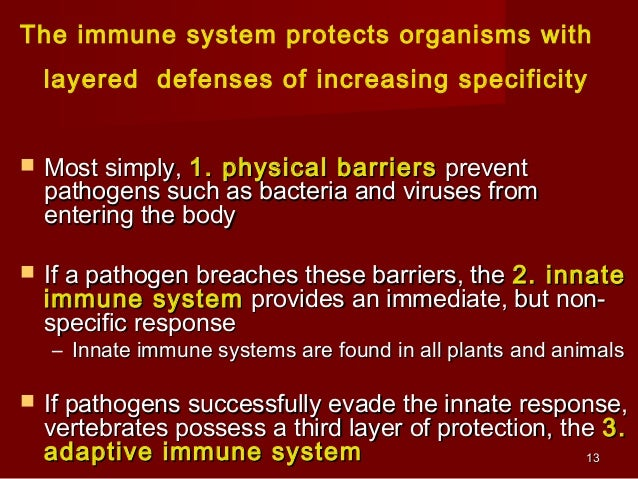 Overview of the Immune SystemOverview of the Immune System Immune System Innate (Nonspecific) Adaptive (Specific) Cellular...