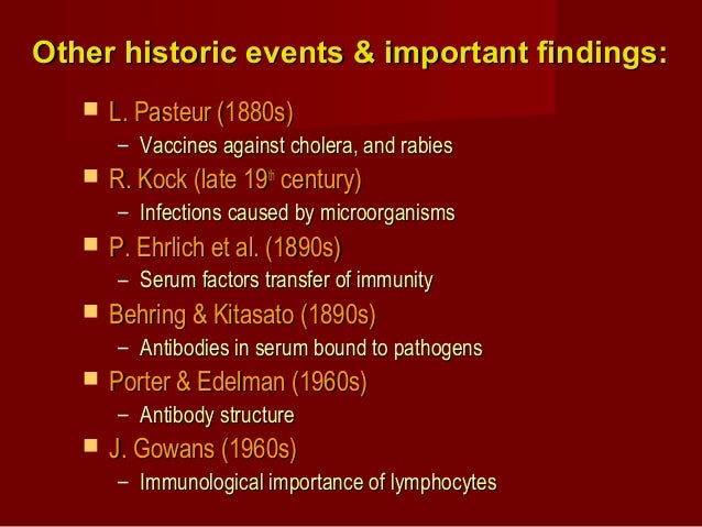 Other historic events & important findings:Other historic events & important findings:  L. Pasteur (1880s)L. Pasteur (188...