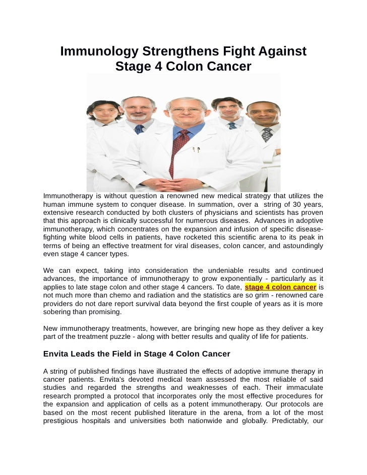 Immunology Strengthens Fight Against Stage 4 Colon Cancer