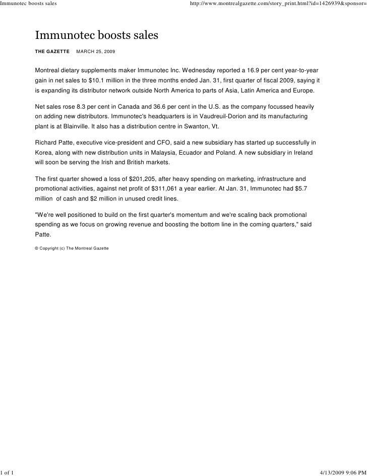 Immunotec boosts sales                                                    http://www.montrealgazette.com/story_print.html?...
