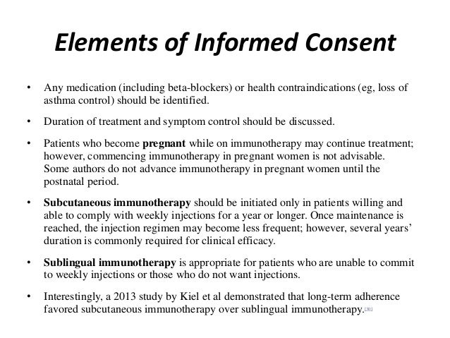 Elements of Informed Consent • Any medication (including beta-blockers) or health contraindications (eg, loss of asthma co...