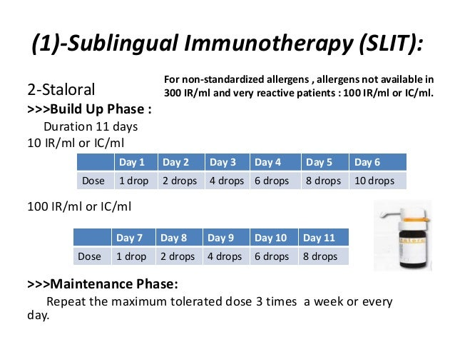 (1)-Sublingual Immunotherapy (SLIT): 2-Staloral >>>Build Up Phase : Duration 11 days 10 IR/ml or IC/ml 100 IR/ml or IC/ml ...