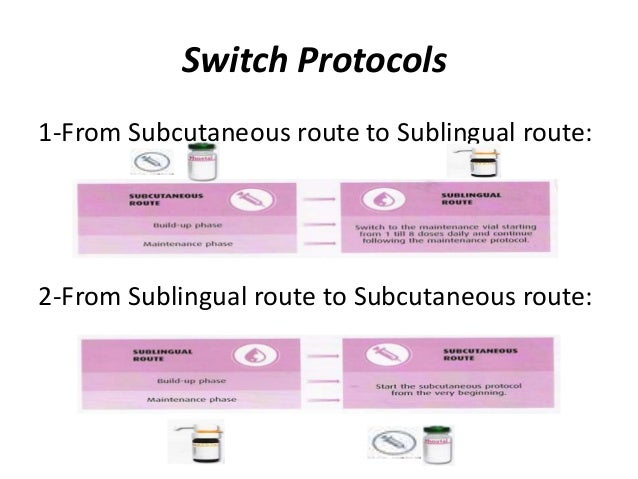 Switch Protocols 1-From Subcutaneous route to Sublingual route: 2-From Sublingual route to Subcutaneous route: