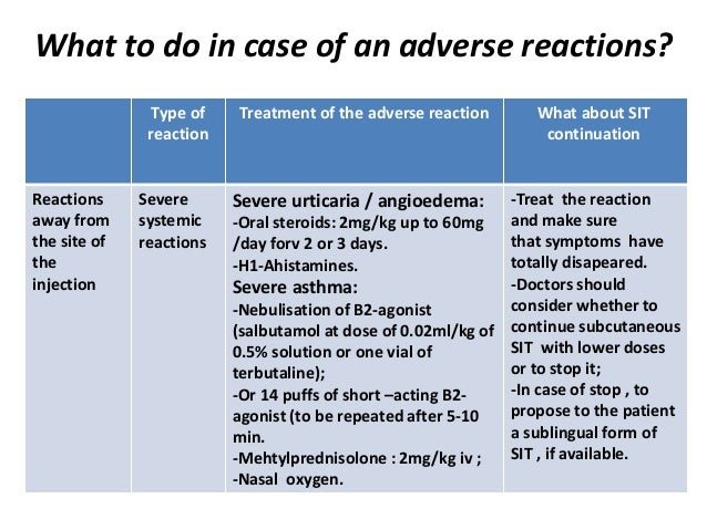 What to do in case of an adverse reactions? What about SIT continuation Treatment of the adverse reactionType of reaction ...