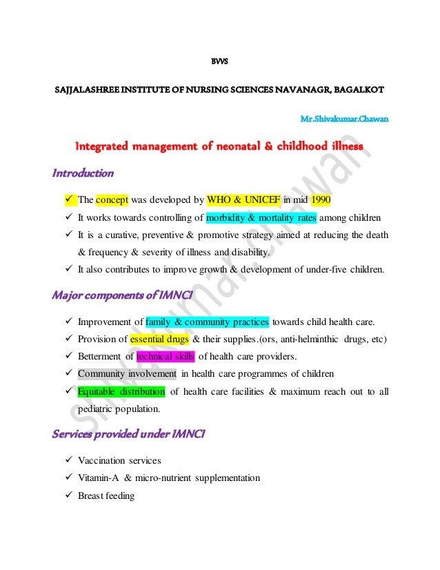 BVVS SAJJALASHREE INSTITUTE OF NURSING SCIENCES NAVANAGR, BAGALKOT Mr.Shivakumar.Chawan Integrated management of neonatal ...