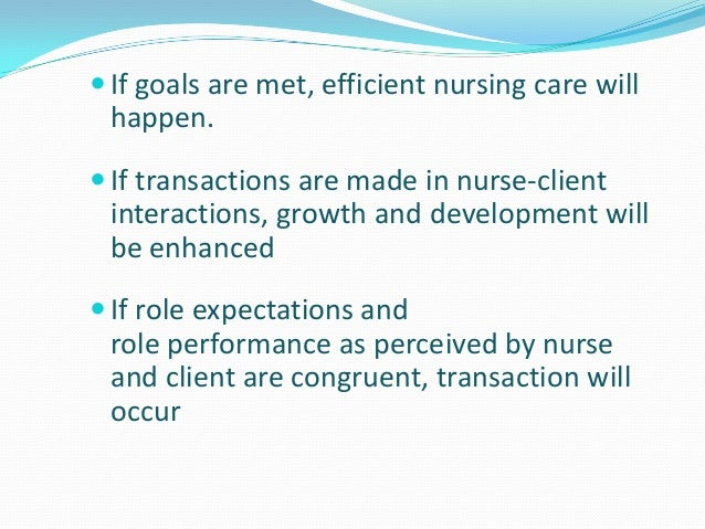 nursing theory of imogene king Imogene kings (1981) theory of goal attainment concentrates on how goals of the client are attained through the nurse-client transactions nursing goal is to attain.