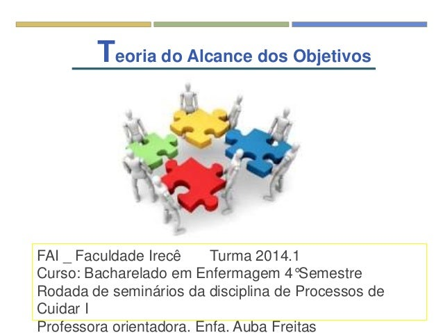 Teoria do Alcance dos Objetivos FAI _ Faculdade Irecê Turma 2014.1 Curso: Bacharelado em Enfermagem 4°Semestre Rodada de s...