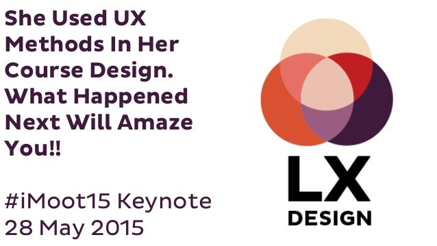 She Used UX Methods In Her Course Design. What Happened Next Will Amaze You!! #iMoot15 Keynote 28 May 2015