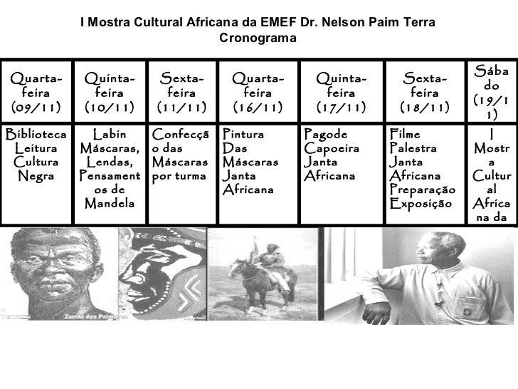 I Mostra Cultural Africana da EMEF Dr. Nelson Paim Terra Cronograma I Mostra Cultural Africana da EJA Filme Palestra Janta...