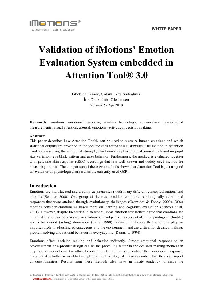 WHITE PAPER             Validation of iMotions' Emotion         Evaluation System embedded in               Attention Tool...