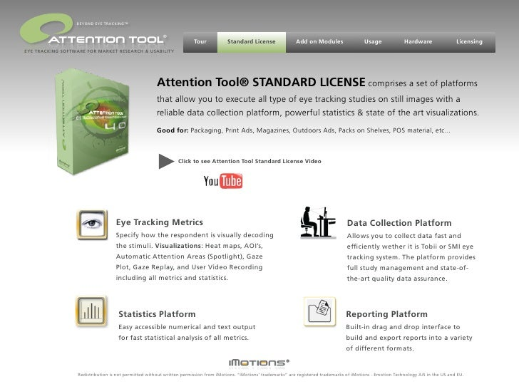 iMotions - Attention Tool Eye Tracking Software - STANDARD LICENSE