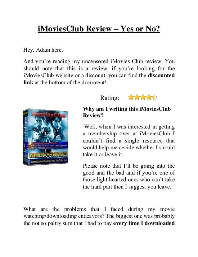 iMoviesClub Review – Yes or No? Hey, Adam here, And you're reading my uncensored iMovies Club review. You should note that...