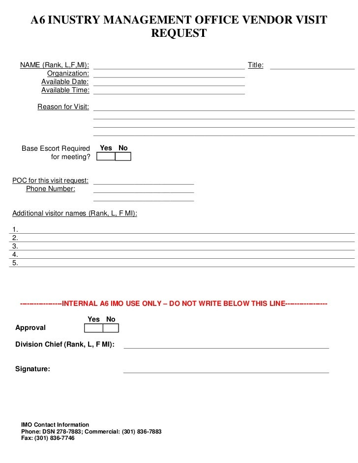 IMO Visit Request Form – Vendor Request Form
