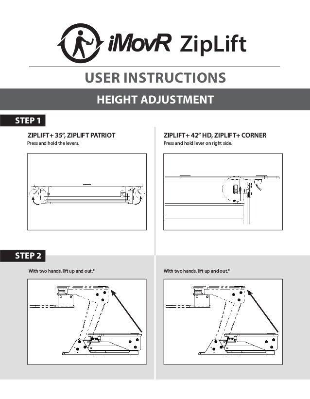 "STEP 2 ZipLift HEIGHT ADJUSTMENT Press and hold lever on right side.Press and hold the levers. ZIPLIFT+ 35"", ZIPLIFT PATRI..."
