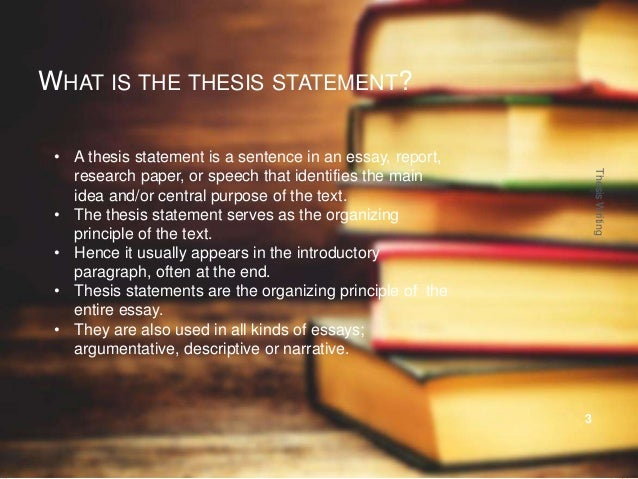 The thesis statement usually appears in the
