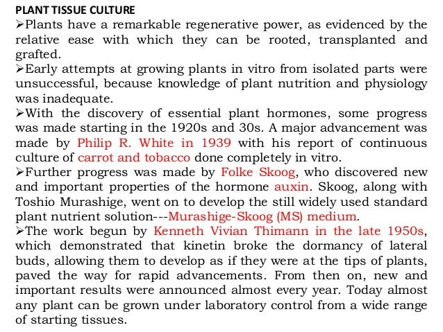 nutritional requirements of plant tissue culture