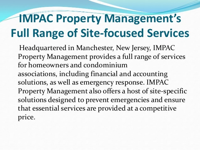 IMPAC Property Management's Full Range of Site-focused Services Headquartered in Manchester, New Jersey, IMPAC Property Ma...