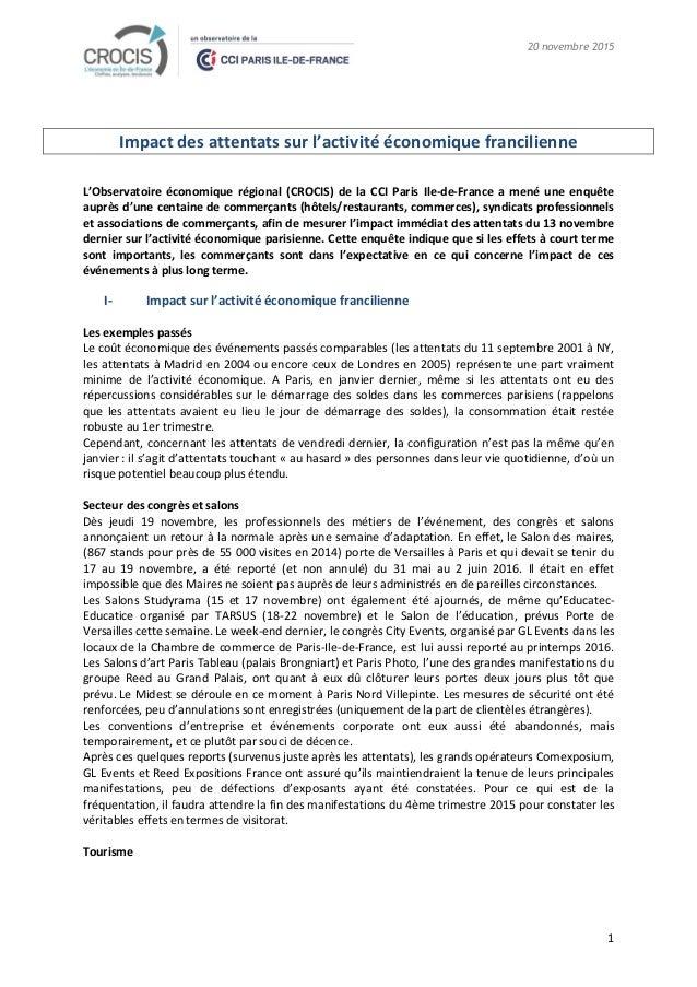 20 novembre 2015 1 Impact des attentats sur l'activité économique francilienne L'Observatoire économique régional (CROCIS)...