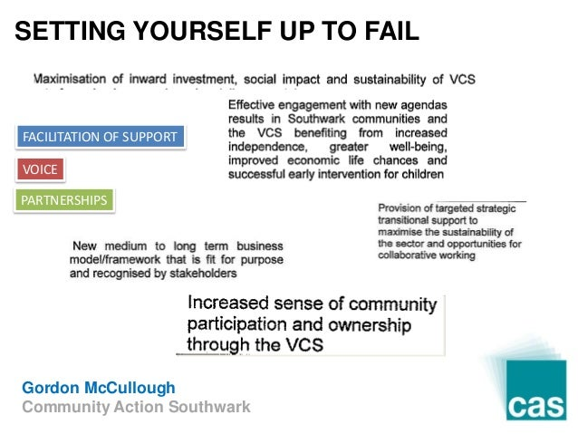 Gordon McCullough Community Action Southwark FACILITATION OF SUPPORT VOICE PARTNERSHIPS SETTING YOURSELF UP TO FAIL