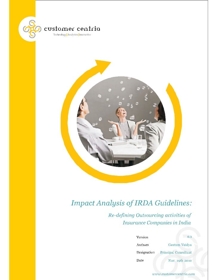 Impact analysis of IRDA Guidelines - Re-defining outsourcing activities of insurance companies in India