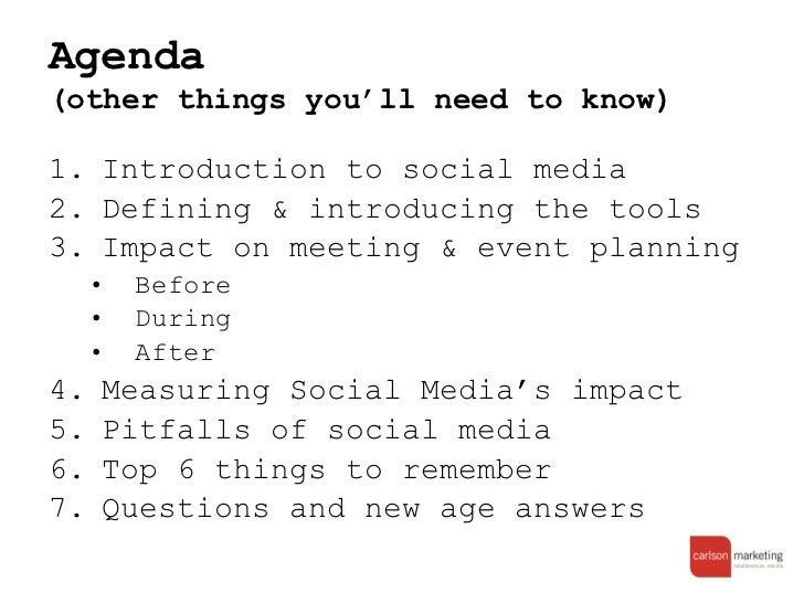 Social media meeting agenda