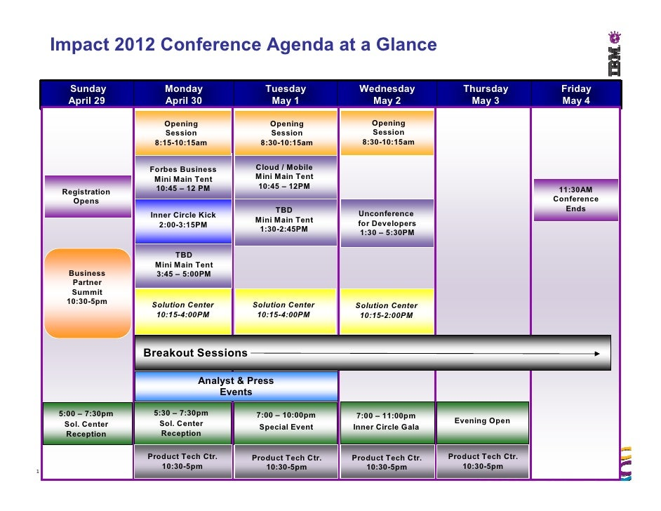 Impact 2012 Conference Agenda at a Glance      Sunday            Monday                Tuesday           Wednesday        ...