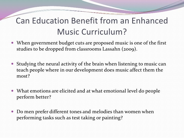 the impact of music Impact of music music can help change the score on some of minnesota's  most pressing needs, including building school readiness in preschoolers,.