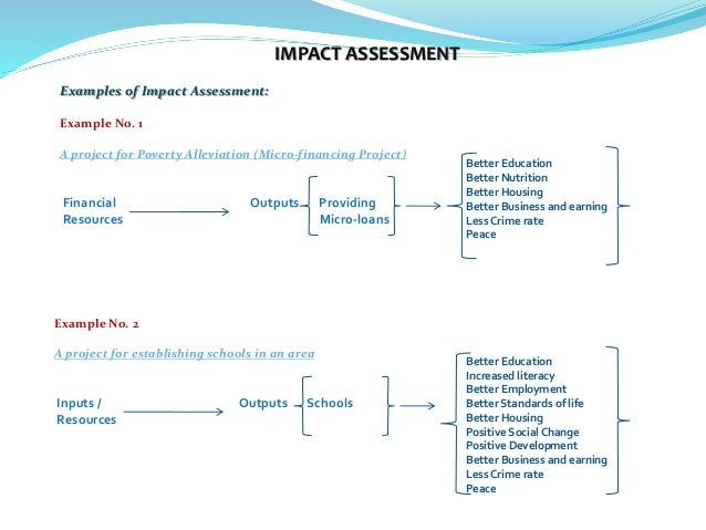 Wonderful ... Economic Deliverable Environmental; 4. IMPACT ASSESSMENT Examples ...