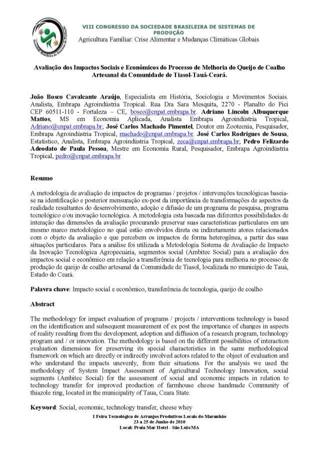 Avaliação dos Impactos Sociais e Econômicos do Processo de Melhoria do Queijo de Coalho Artesanal da Comunidade de Tiasol-...