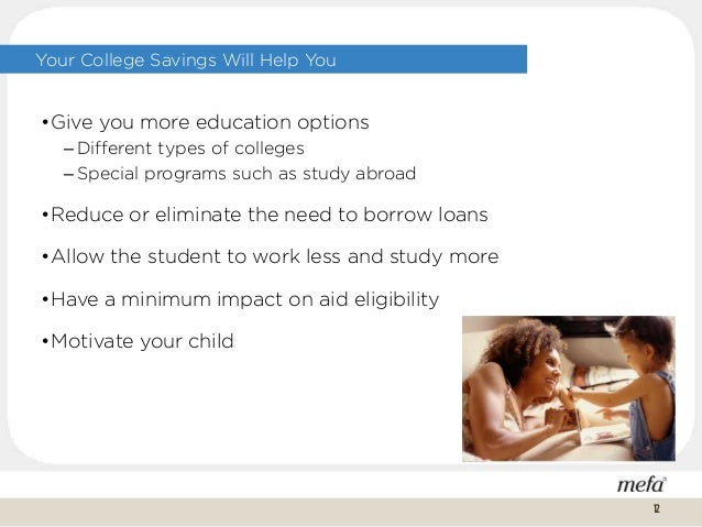 Your College Savings Will Help You •Give you more education options – Different types of colleges – Special programs such ...