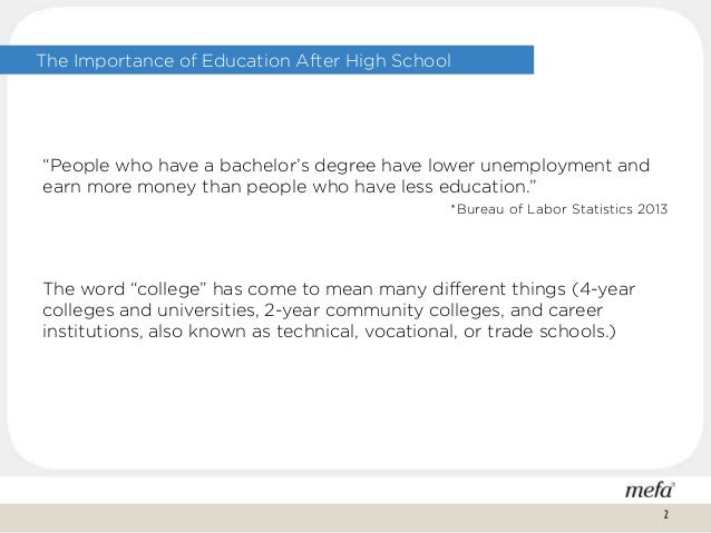 """The Importance of Education After High School """"People who have a bachelor's degree have lower unemployment and earn more m..."""