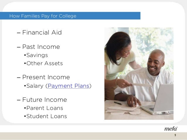 How Families Pay for College 9 – Financial Aid – Past Income •Savings •Other Assets – Present Income •Salary (Payment Plan...