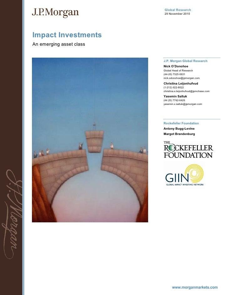 Global Research                          29 November 2010Impact InvestmentsAn emerging asset class                        ...